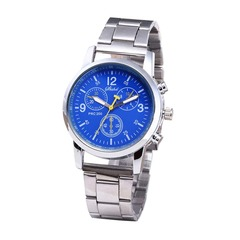 Hot Sale Men Watch Quartz Stainless Steel Band Three Eyes Six Steel Needle Fashion Men's Business Blue one size