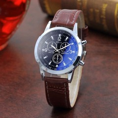 Men Business Wristwatch Fashion Luxury Leather Watches Blue Ray Glass Quartz Analog Wrist Watches Black Dial As picture