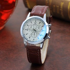 Men Business Wristwatch Fashion Luxury Leather Watches Blue Ray Glass Quartz Analog Wrist Watches White Dial As picture