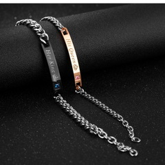 2Pcs/Set  Her King & His Queen Couple Bracelets with Crytal Stone Boyfriend Girlfriend Lover Jewelry as picture one size