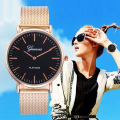 Foreign trade hot gold mesh belt women's watch Geneva girl watches women soft belt fashion bracelet Black Dial as picture