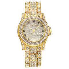 Lureen Luxury Full Diamond Quartz Watch For Women Gold Band  Watches Wrist watch Clock Hours gold as picture