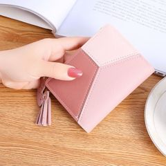 Women's Wallets Small Mini Safe Money Bag Female Short Butterfly Fringed Zipper Purse Credit Card Pink as picture