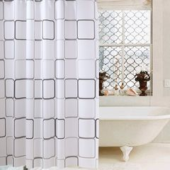 Waterproof PEVA Shower Curtain Liner Transparent Mildew Curtains Bath Decor with Curtain Hooks as picture 1.8M(L) x 1.8M(H)