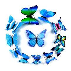 3D Butterfly Wall Art Sticker magnet mural home decoration wedding decoration kindergarten Blue 12pcs/set