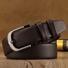 New Business Men Belts of Leather Luxury Design Buckle Belts for Jeans Brown Retro Waist Strap Belt Black as picture