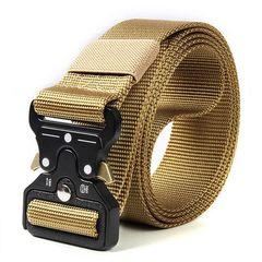 Classic Tactical Belt High Elastic Metal Hook Outdoor Training High Quality New Nylon Soldier Belts Green adjustable size