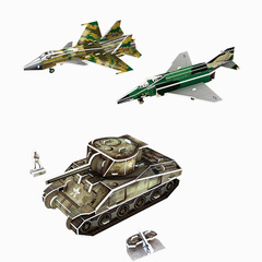 Paper 3D military series Puzzle 2 Green One size
