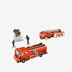Paper 3D rescue car series puzzle red one size