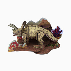 Paper 3D Triangle dragon puzzle Brown one size