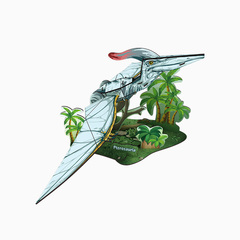Paper 3D pterosaurs mosaic green one size