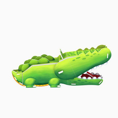 Animal Series Jigsaw - crocodiles(mouse can open) green one size