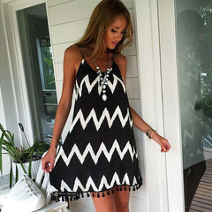 Women Sexy Wavy Stripe Loose Dress Backless Stripe Party Club Beach Dress Plus Size With Tassel S As Picture