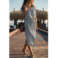 Dress Women Long Shirt Dress  Chiffon Beach Dress Casual Long Sleeve  Lace-up waist Dress s Black