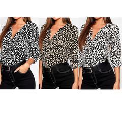 Tops Women Leopard Print Sexy V-neck Long-sleeved  Chiffon Shirt Yellow S