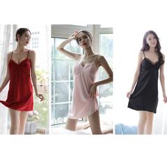 Sleepwear Women Sexy Pajamas Lace Hollow Ice Silk Nightdress Erotic Lingerie Temptation Nightshirt black xxl