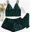 European and American fashion summer design lace Artificial silk underwear set Dark green S 45-53 kg