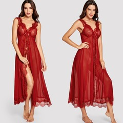 sexy ma'am fashion lace screen cloth design pajamas and T-Underpants Wine red one-size 45-75 kg