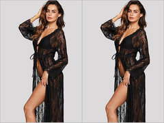 Fashion ladies high-end lace fabric lace comfortable pajamas Robe Sexy Beauty Mesh Lace Sleepwear black one-size 45-70 kg