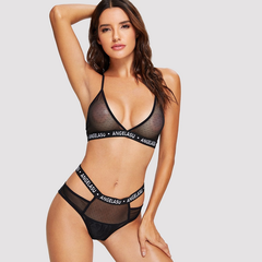 Sexy mesh transparent underwear black One size/ 50-75 kg