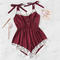 sexy sleepwear Adult lingerie lace romper home sleepwear wine red S 45-55  kg