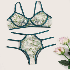 sexy lingeries Sexy mesh embroidery translucent underwear suit for women in Europe and America light green S-45-53 kg