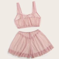 sexy Fashion  transparent   sling  thin breathable net mesh transparent lingerie Pajamas Suit Pale Pink 3XL-68-77 kg