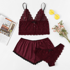 Ladies SexyLace Cami Set  fashion Lace Silk split three-piece underwear Pajama suit wine red L 55-75 kg