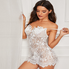 Sexy Solid Color Halter Sexy Lace Girls Transparent Dress with T Underwear white M  50-60 kg