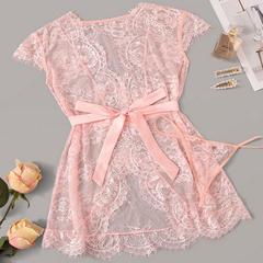 Sexy, transparent lace lace hollowed-out seductive sleeping dress suit pink M  50-60 kg
