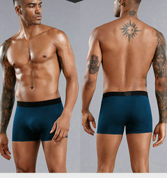 4 pieces sexy Mens Underwear Boxers High Quality Shorts Fiber Man Underpants 4 pieces combination gray-blue-Cyan-black 4XL-90-100 kg