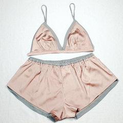 Ma'am Sleepwear Underwear Sexy short suspender shorts silk Pajamas two-piece set lotus root powder 1xl-65-75 kg