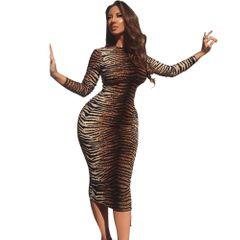 Fashion fashion women's new round neck long sleeve sexy hip wrap dress printed slim skirt l tiger stripe