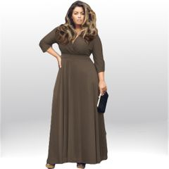 Dress women's V-Neck long plus size dress fashion fat mm large swing dress xxxl coffe