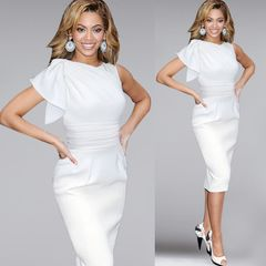 Women's office short sleeve dress Ruffle sleeve Slim Pencil Skirt large s-5xl one step skirt s white