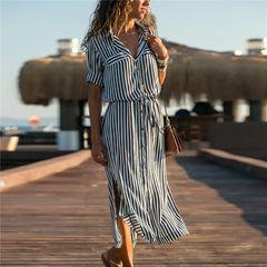 Shirt dress European and American Feng stripe long high waist lace up women's Chiffon medium length s black