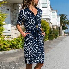 Women's dress fashion printed V-Neck long sleeve lace up women's shirt skirt A-shape dress m dark blue