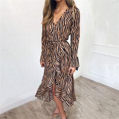 Dress women's sense V-neck Chiffon medium length skirt printing long sleeve women's dress A-shape sk m khaki