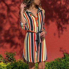 Shirt dress women's Stripe Print casual dress long sleeve V-neck tie women's A-shape dress l red