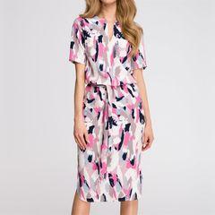 New best selling women's print straight tube dress side slit V-neck lace up women's mid length skirt l rose red