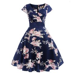 Summer new retro women's short-sleeved five-color printed large size women's dress mid-length dress xxl 4203