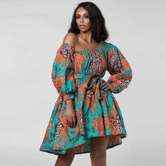 Dress women's digital print off shoulder fluffy women's dress African National Style loose dress l 008