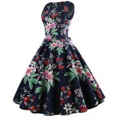 Dress women's Vintage Hepburn style large flower sleeveless women's dress large umbrella skirt xl 0300