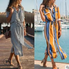 Summer women's striped chiffon straight ladies dress mid-length shirt dress s black