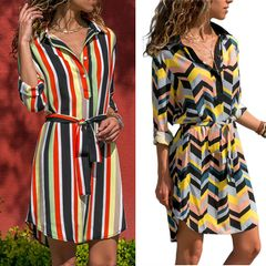 Summer ladies shirt skirt striped printed long-sleeved casual dress ladies straight dress l red