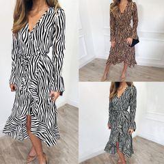 Summer ladies straight dress chiffon animal pattern long-sleeved ruffled mid-length dress m khaki