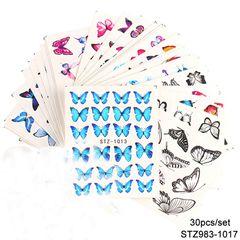 30pcs Nail Art Sticker INS Watercolor Butterfly Watermark Sticker Nail Kits Random 1 Set (30pcs) Random