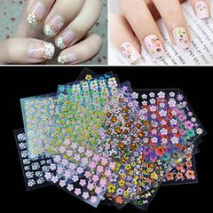10 Sheets Nail Adhesive Sticker 3D Nail Decals Color Mixed Stickers Set With Gum Nail Art Decoration Random
