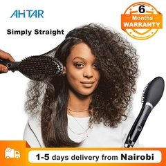 Ahitar Simply Straight Hair Straightener Comb Digital Electric Straightening Ceramic Hair Brush AHITAR BLACK