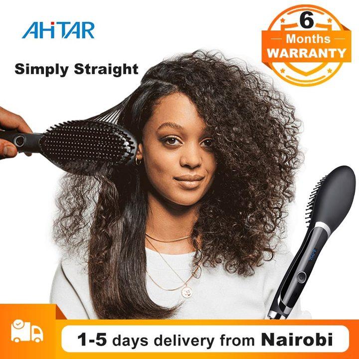 Ahitar Simply Straight Hair Straightener Comb Digital Electric Straightening Ceramic Hair Brush AHITAR BLACK